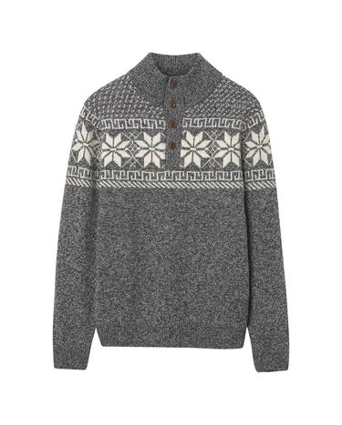 Erkek Holiday Mock Neck Gri Triko