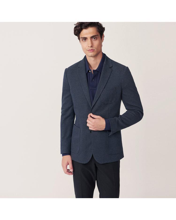 Erkek Lacivert Balıksırtı Blazer Ceket