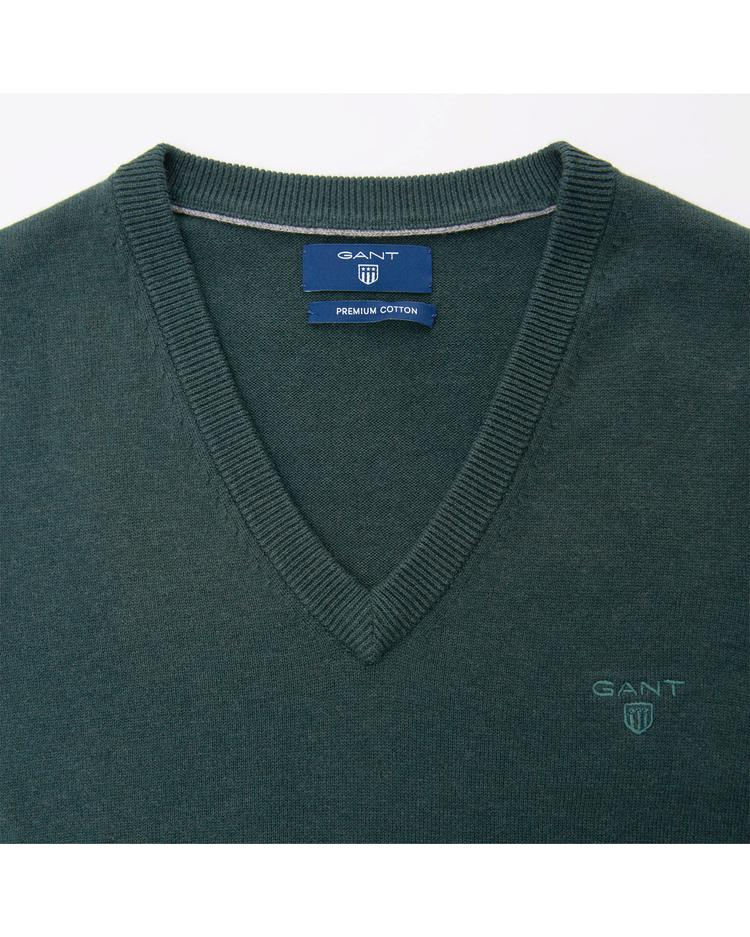 Erkek Yeşil Lightweight Cotton Slipover Triko Süveter