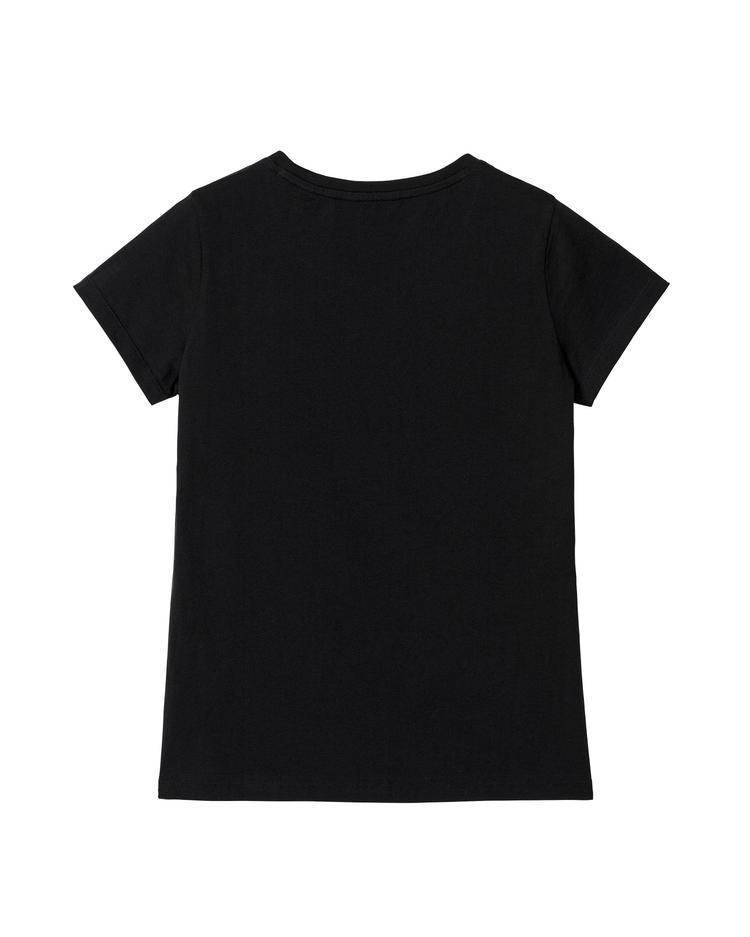 Kadın Siyah Arch Logo Cap Sleeve Tshirt