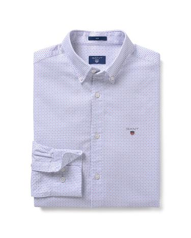 GANT Erkek Beyaz Desenli Oxford Slim Fit Gömlek