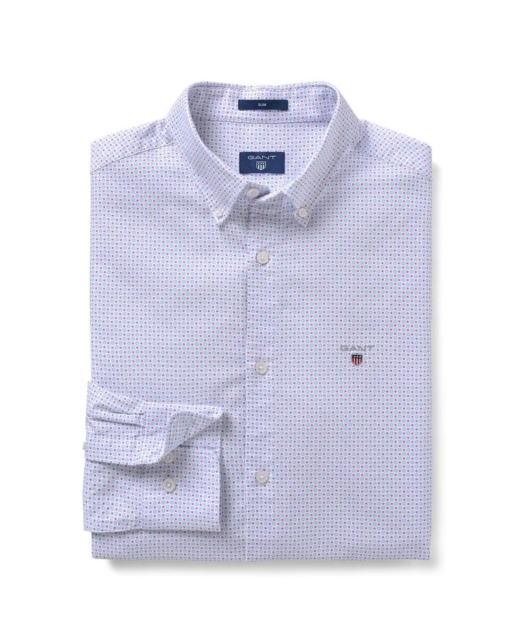 Erkek Beyaz Desenli Oxford Slim Fit Gömlek