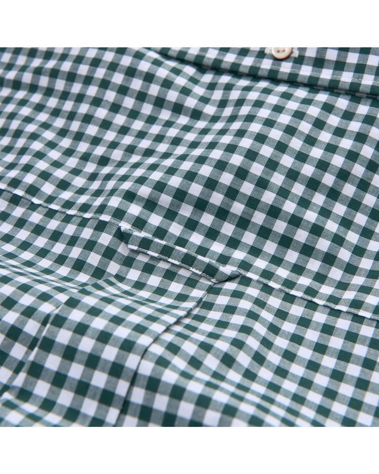 Erkek Yeşil Regular Broadcloth Gingham Gömlek