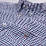 Erkek Mavi Kareli Regular Oxford Gömlek