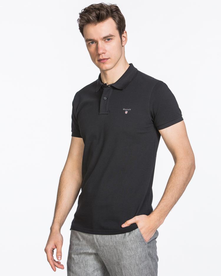 GANT Erkek Siyah Slim Fit Pique Polo