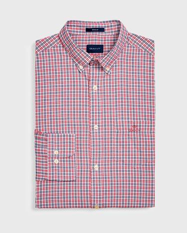 GANT Erkek Kırmızı Regular Fit Oxford Kareli Gömlek