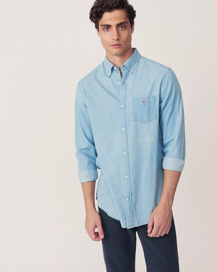 Gant Erkek Regular Fit Indigo Gömlek