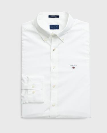 GANT Erkek Beyaz Slim Fit Broadcloth Gömlek