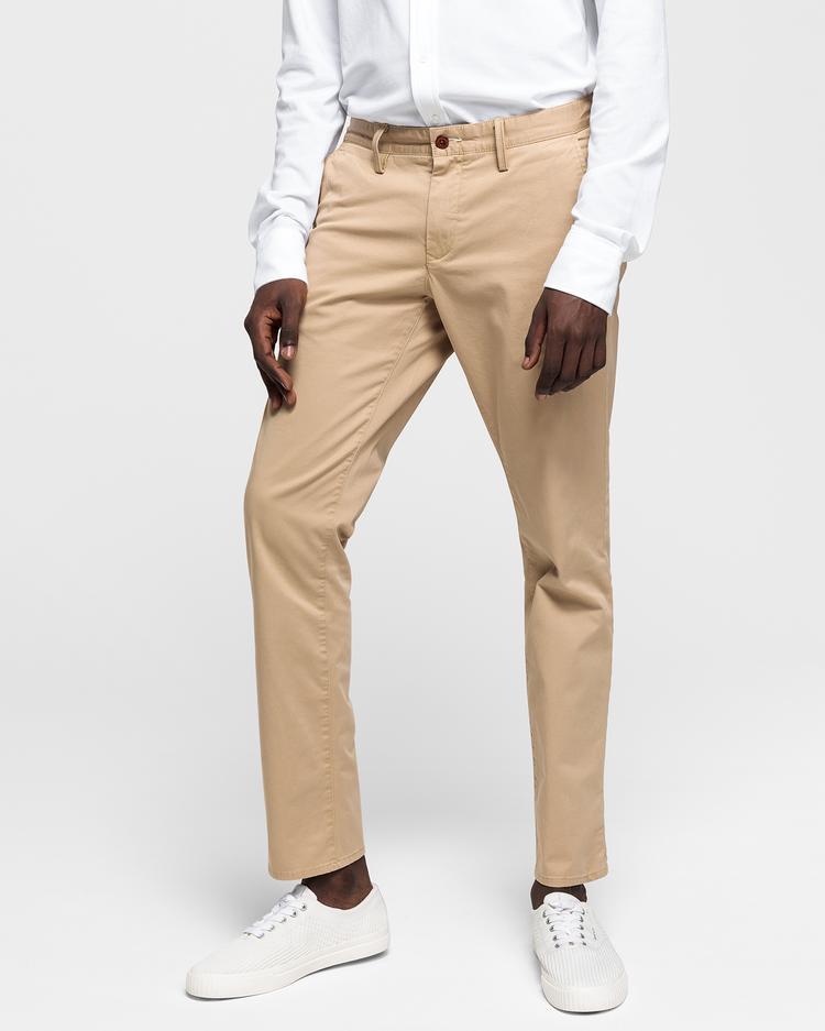 Erkek Twill Chino Bej Slim Pantolon
