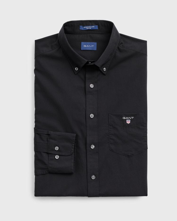 GANT Erkek Siyah Regular Fit Broadcloth Gömlek