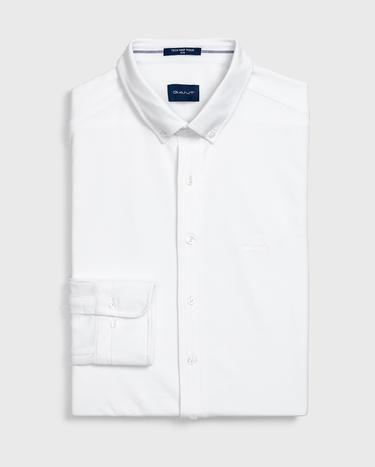 GANT Erkek Beyaz Slim Fit Tech Prep Pique Gömlek
