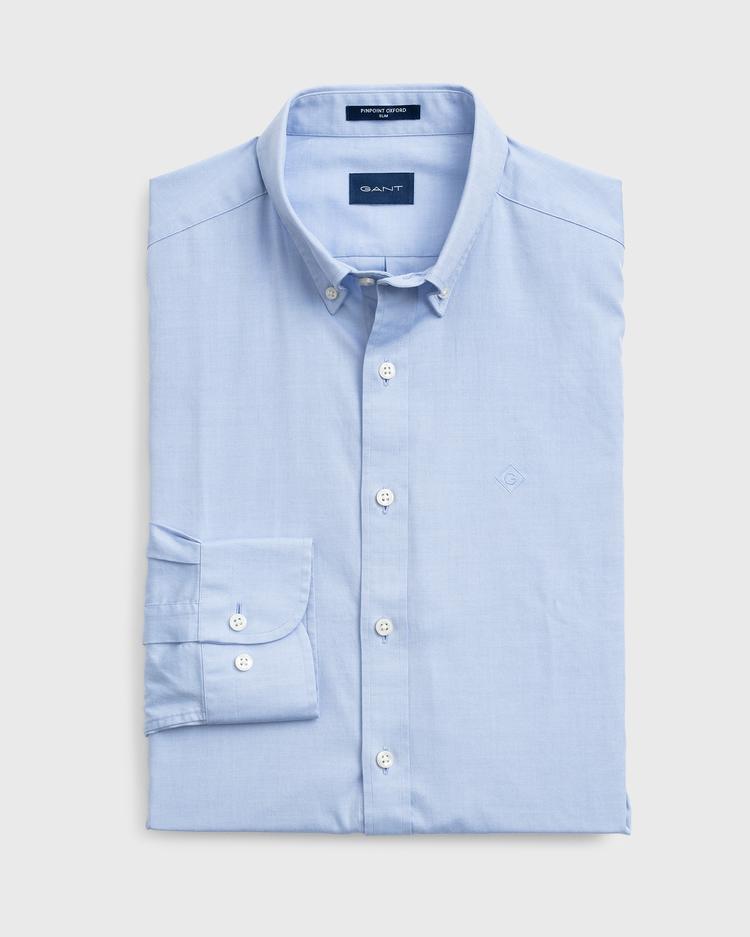 Erkek Mavi Pinpoint Oxford Gömlek
