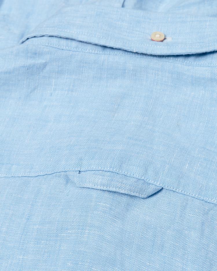 Erkek Mavi Slim Keten Gömlek