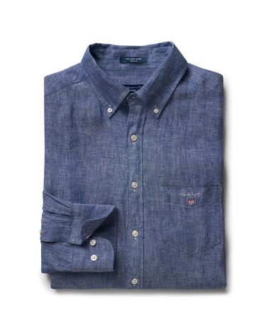 Erkek Mavi Regular Keten Gömlek