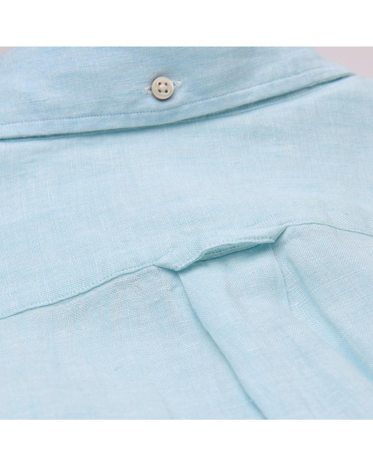 Gant Erkek Mavi Regular Keten Gömlek