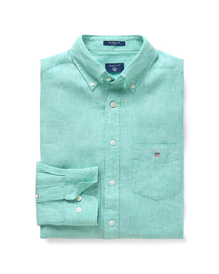 Erkek Yeşil Slim Keten Gömlek