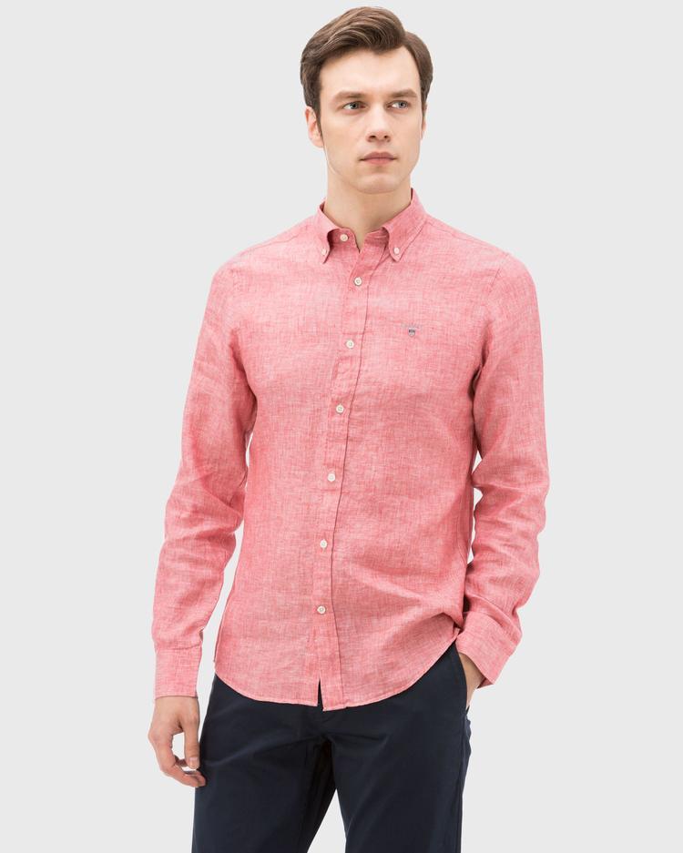 Gant Erkek Kırmızı Slim Fit Keten Gömlek