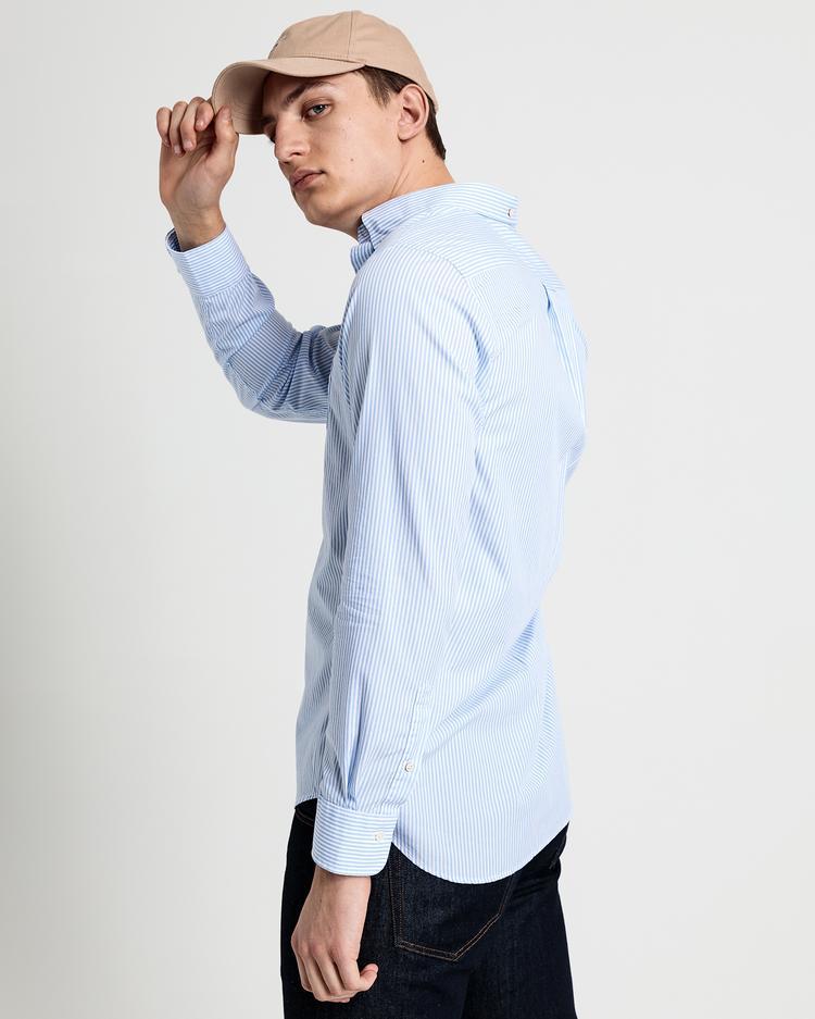 GANT Erkek Açık Mavi Regular Fit Broadcloth Banker Çizgili Gömlek