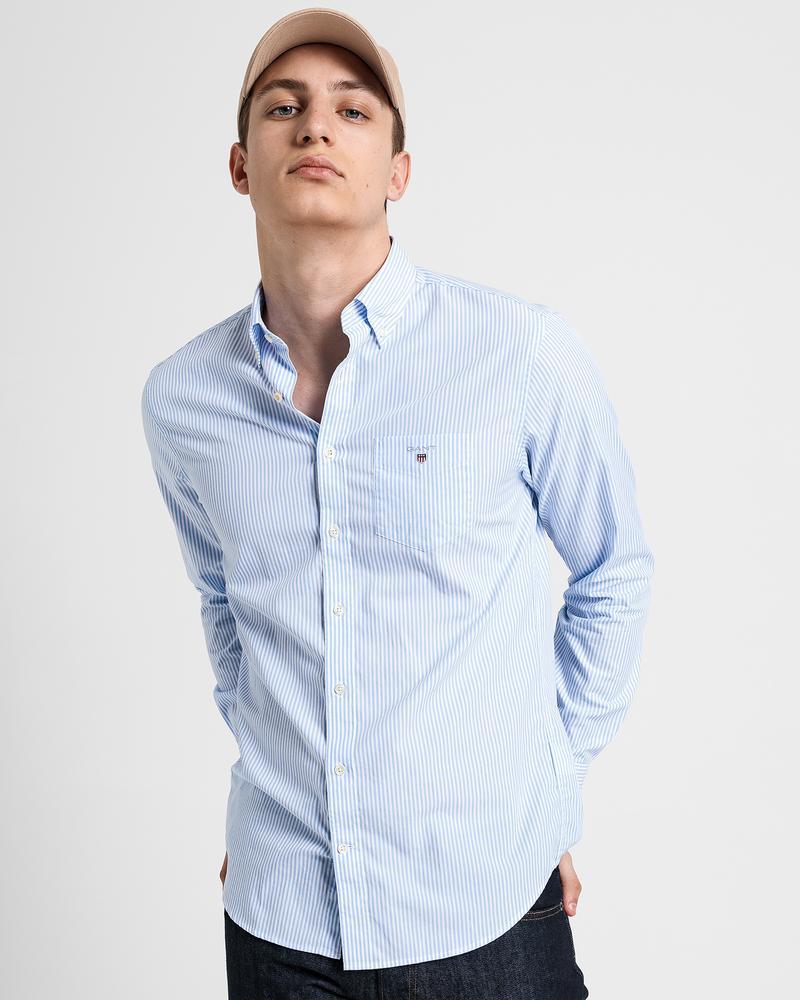GANT Erkek Mavi Çizgili Regular Fit Broadcloth Banker Gömlek