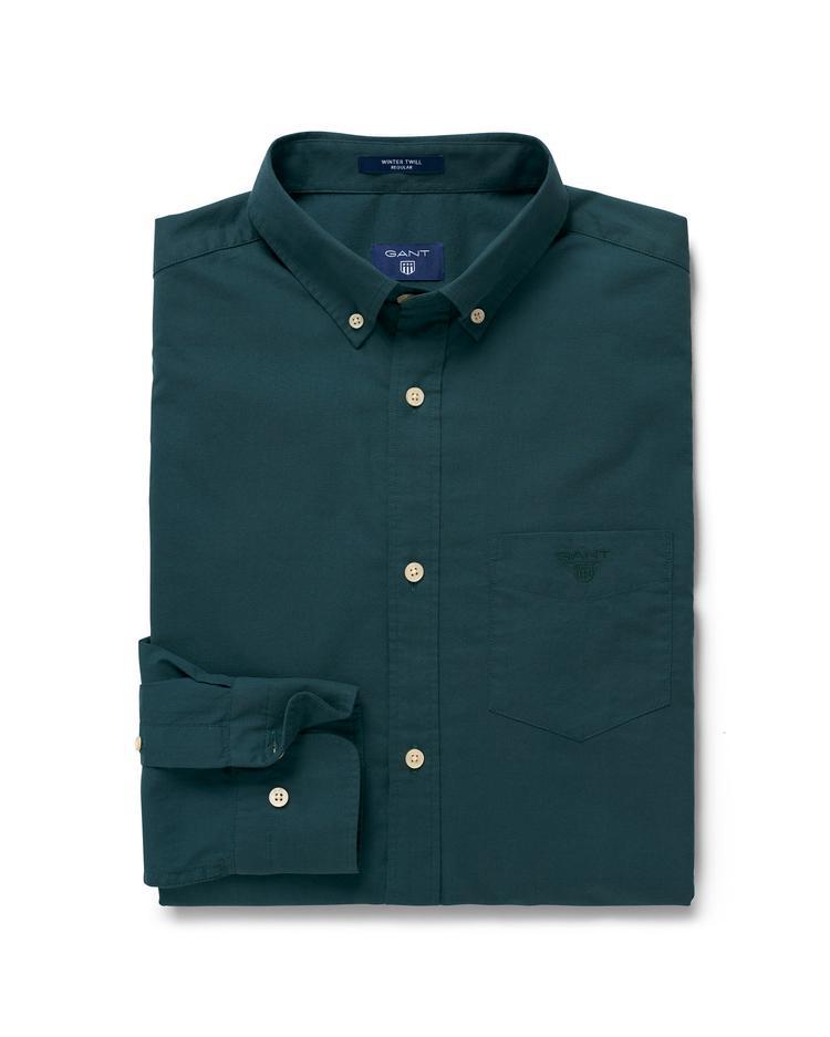 Erkek Yeşil Regular Twill Gömlek