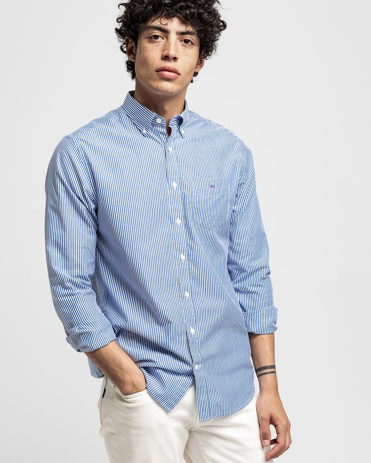 GANT Erkek Mavi Regular Fit Broadcloth Banker Çizgili Gömlek
