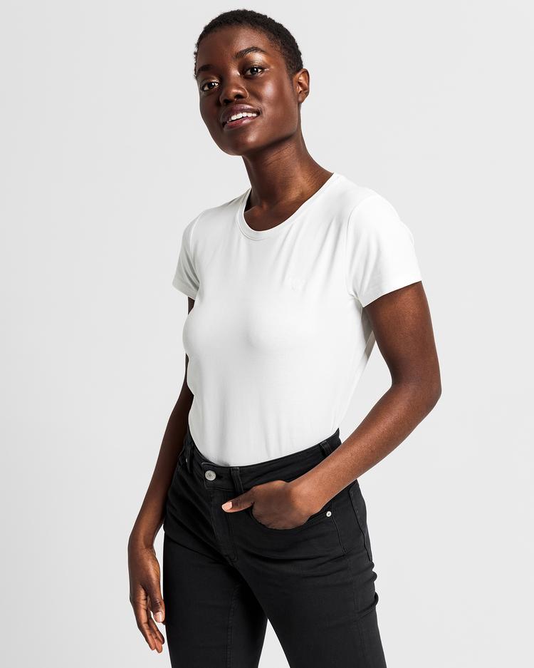 Kadın Krem Cott Ela C-Neck Tshirt