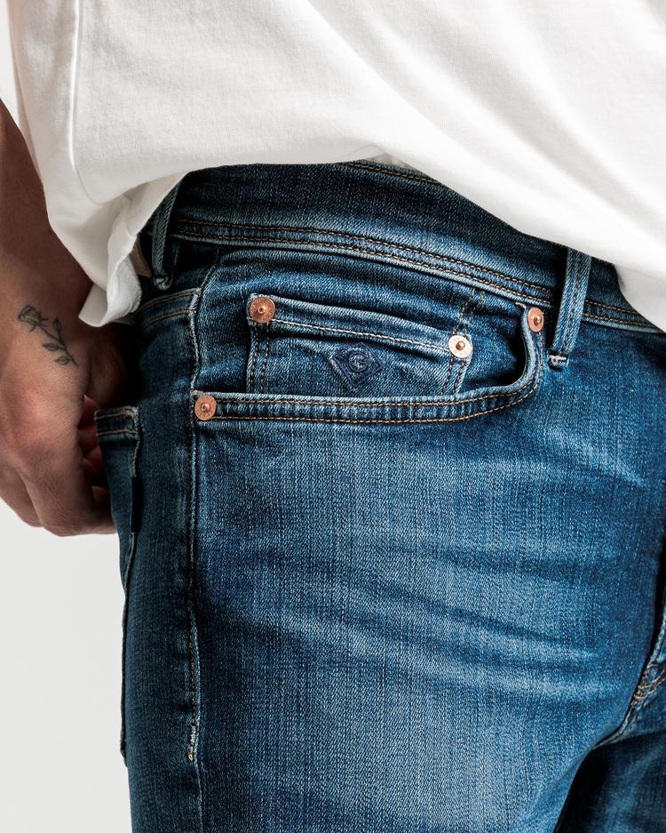GANT Erkek Lacivert Slim Fit Jean Pantolon
