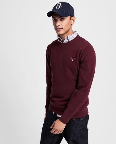 GANT Erkek Bordo Regular Fit Triko Kazak