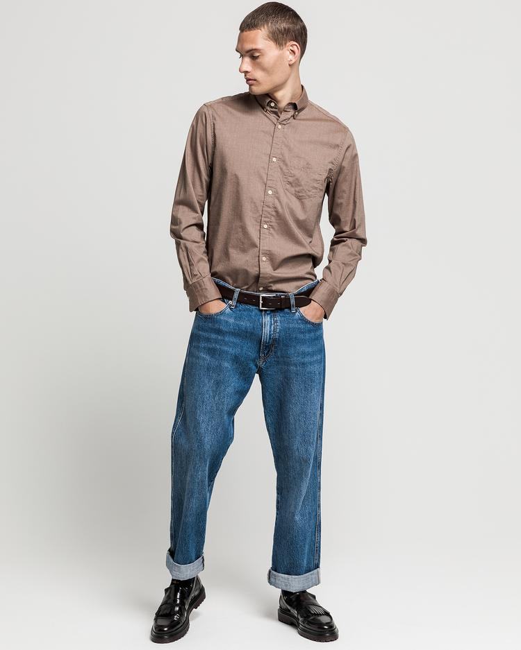 GANT Erkek Krem Regular Fit Gömlek