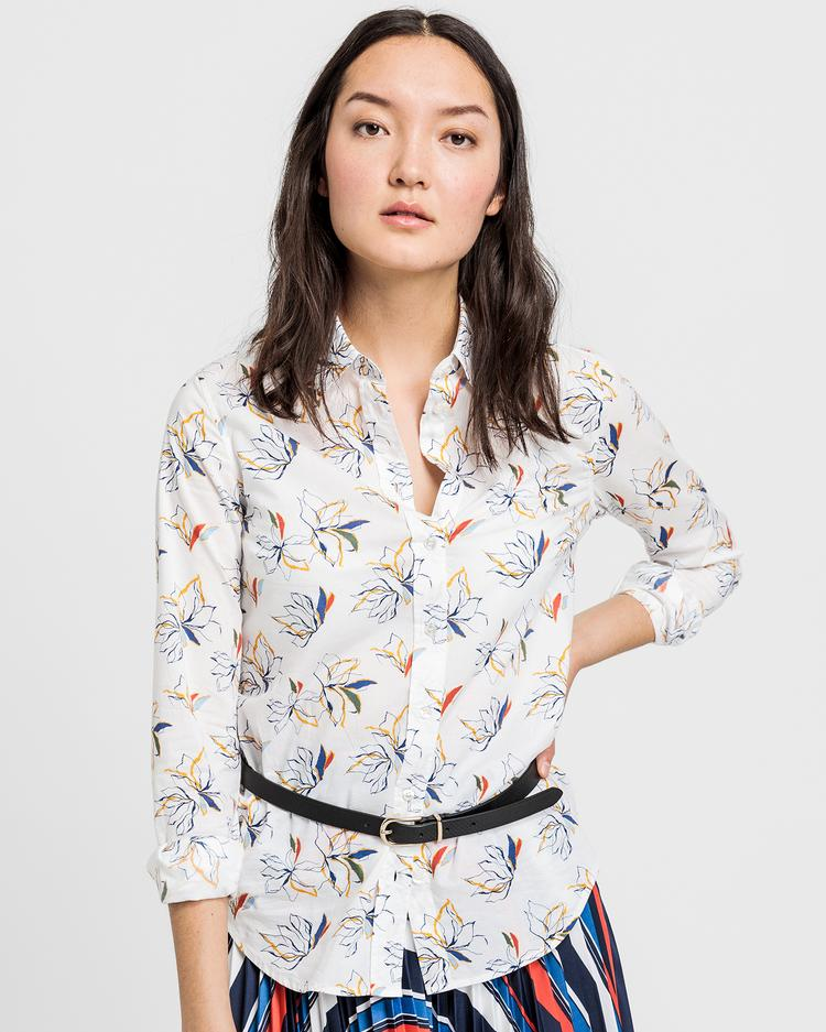 GANT Kadın Krem Desenli Regular Fit Gömlek