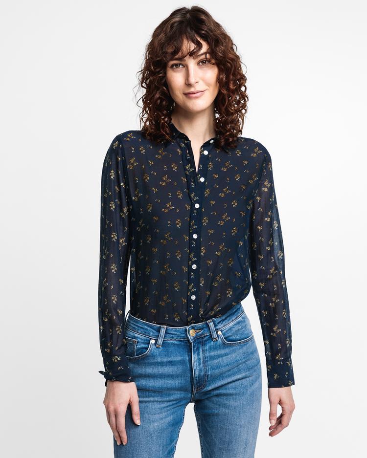 GANT Kadın Lacivert İpek Gömlek
