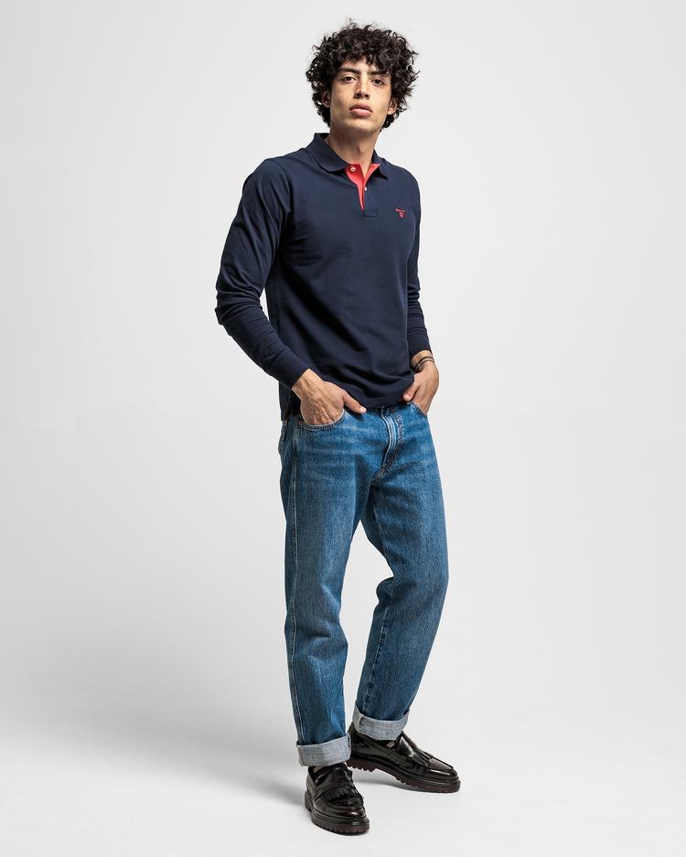 Gant Erkek Lacivert Original Piqué Rugger Uzun Kollu Polo Sweatshirt