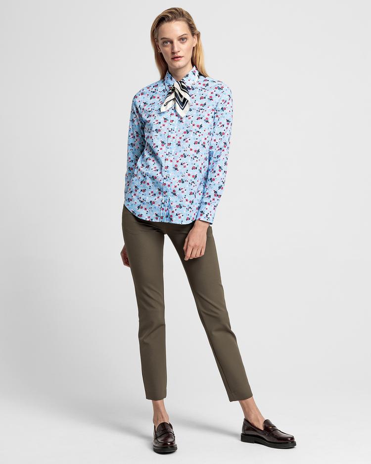GANT Kadın Mavi Floral Desenli Regular Fit Gömlek