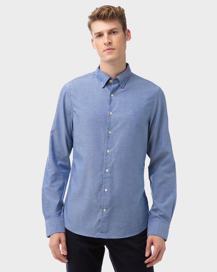 GANT Erkek Mavi Slim Fit Tech Prep Oxford Gömlek