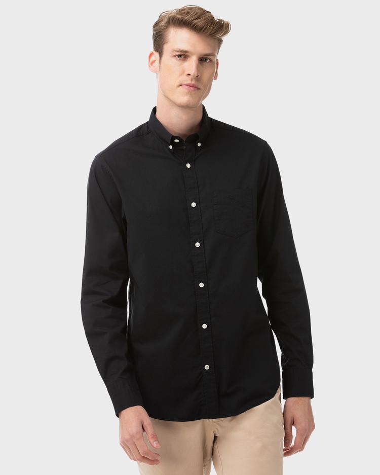 Erkek Siyah Regular Twill Gömlek