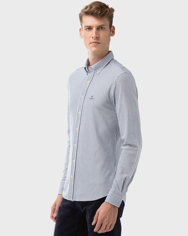 Gant Erkek Mavi Slim Fit Tech Prep Pique Çizgili Gömlek