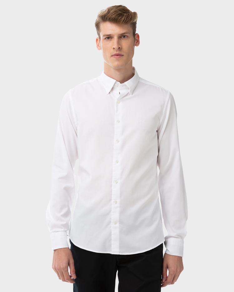 Gant Erkek Beyaz Slim Fit Tech Prep Oxford Gömlek