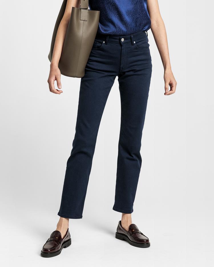 GANT Kadın Lacivert Slim Fit Twill Denim Pantolon