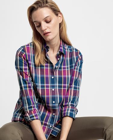 GANT Kadın Lacivert Kareli Relaxed Fit Gömlek