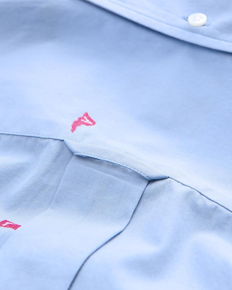 Gant Erkek Mavi Slim Fit Fil-Coupe Flags Gömlek