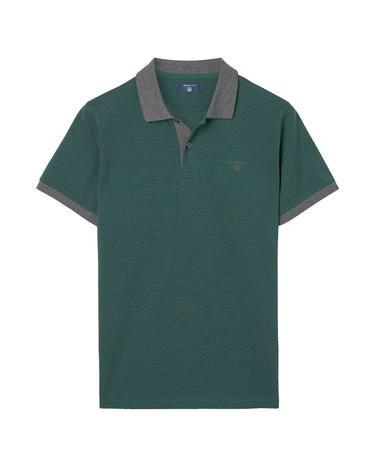 Erkek Yeşil Puantiyeli  Jacquard Rugger Polo