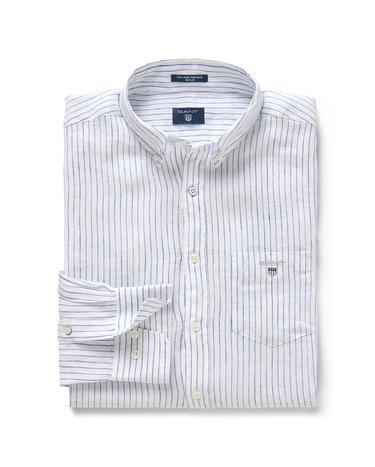 Erkek Beyaz Çizgili Regular Keten Gömlek