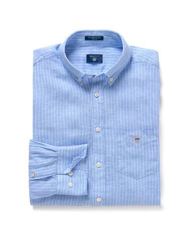 Erkek Mavi Çizgili Regular Keten Gömlek