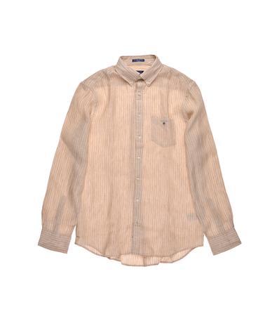 Gant Erkek Bej Çizgili Regular Keten Gömlek