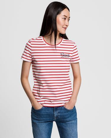 Gant Kadın Kırmızı Çizgili Tshirt