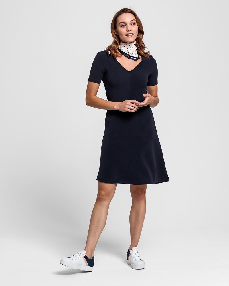 GANT Kadın Lacivert V Yaka Elbise