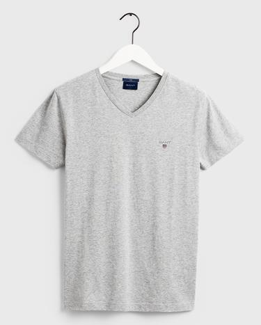 GANT Erkek Açık Gri Melanj Slim Fit V Yaka T-Shirt