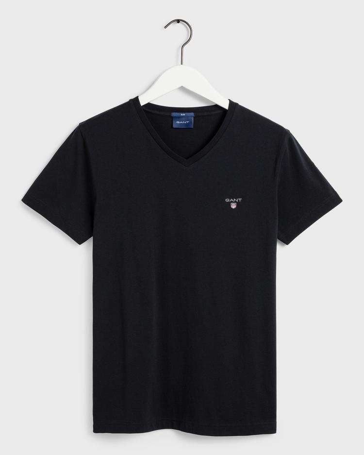 GANT Erkek Siyah Slim Fit V Yaka T-Shirt