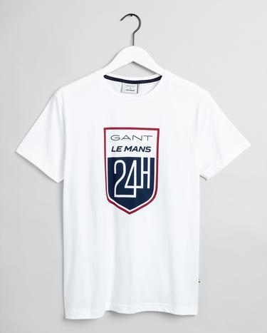 GANT x LE MANS Erkek Beyaz Regular Fit T-Shirt