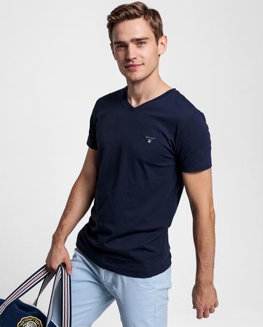 GANT Erkek Lacivert Slim Fit V Yaka T-Shirt